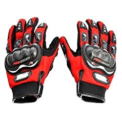 Probiker Full Finger Gloves for Bikers (Red)