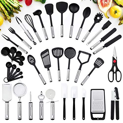 Haipei Kitchen Utensils Set, 40 Piece Nylon Kitchen Cooking Utensils Cookware Set with Stainless Steel Non-Stick and Heat Resistant Cookware Chef Kitchen Gadget Tools Collection, Best Gift