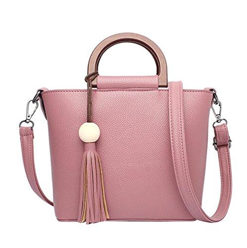 WanYang Frauen Kunstleder Handtaschen Schulter Messenger Schultertasche Shopper Umhängetaschen Portemonnaie Elegant + Quaste Anhänger Gummi rosa