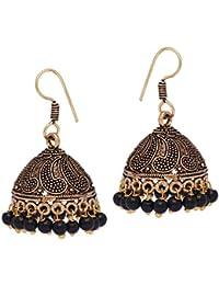 Jaipur Mart Ethnic Collection Jhumki Earrings for Women (Black)(GSE599)