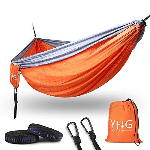 Hängematte 2 Personen 300kg, Reisehängematte Doppel Ultraleicht Camping Hängematte Outdoor mit Aufhängeseilen und Verstärkt Stahlkarabinern, 300*200CM, Tragkraft bis 300 kg(Orange & Grau)