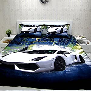 ensemble literie 1 personne avec housse de couette satine 100 coton lamborghini. Black Bedroom Furniture Sets. Home Design Ideas