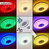 Runde LED Deckenleuchte Hemlo mit Sternen - inkl. RGB Farbwechsler und Bluetooth Lautsprecher - Deckenspot mit Fernbedienung und farbigem Licht - 3000 Kelvin - 1400 Lumen - für Runde LED Deckenleuchte Hemlo mit Sternen - inkl. RGB Farbwechsler und Bluetooth Lautsprecher - Deckenspot mit Fernbedienung und farbigem Licht - 3000 Kelvin - 1400 Lumen -