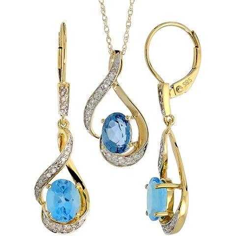 Orecchini pendenti in oro 14 k, 19 mm, 18 in. &)-Set di collana con pendente, con diamanti taglio brillante, ct 0,20 & 3,64. K, taglio ovale, 7 x 5 mm), colore: blu topazio