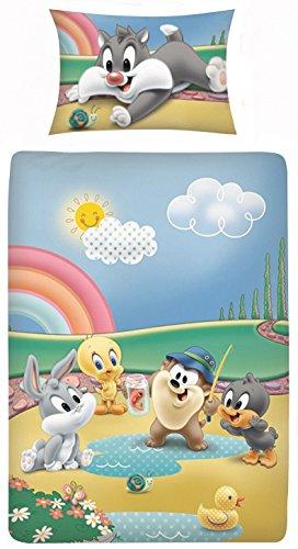 Kigatex - biancheria da letto per bambini, 100% cotone, federa 40 x 60 cm e copripiumino 100 x 135 cm, con chiusura lampo, motivo: disney iii