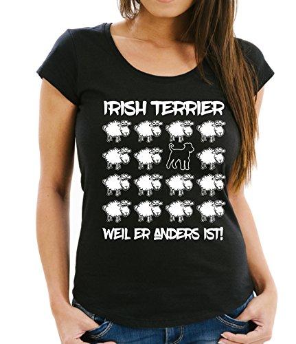 Siviwonder WOMEN T-Shirt BLACK SHEEP - IRISH TERRIER - Hunde Fun Schaf Schwarz