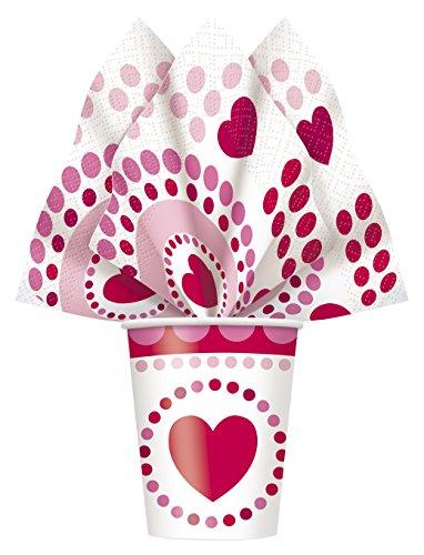 Radiant-tovaglioli di carta con motivo a cuori per san valentino, confezione da 16
