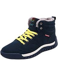 Hombre Zapatos de Ante con Cordones forradas Botas Altas Suave Cómodo Caliente Zapatillas Calzado Deportivo Zapatillas de Nieve Azul Oscuro Verde Negro 39-44