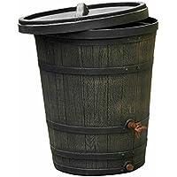 Regentonne Holzfass-Optik / Regenfass: YERD county, 130 Liter frostsicher Regenwasser-Speicher aus witterungsbeständigem Kunststoff