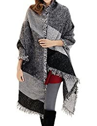 Demarkt Wool Tassel Shawl Women Large Oversized Poncho Thick Style Plaid Scarf Patchwork Cape Warm Shawl
