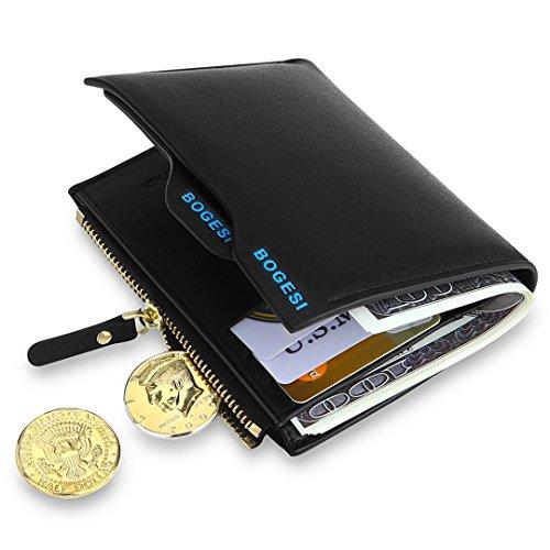 MPTECK   Nero Portafoglio uomo di pelle PU con porta moneta e rimovibile porta  carte per 1ab5269d3210