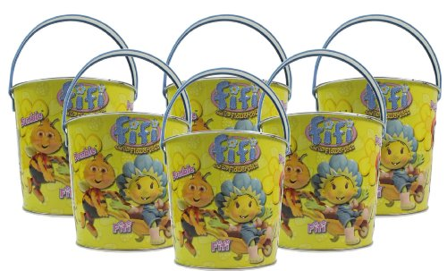 6x Seaside Metal Beach Bucket Cartoon Character Fifi And The Flowertots Size 110mm x 120mm