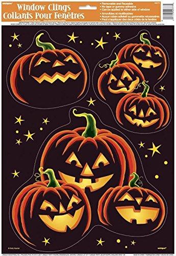 Autocollants pour fenêtres citrouille noire Halloween 0011179407774