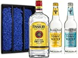 Gin Tonic Set Geschenkset - Finsbury London Dry Gin 70cl (37,5% Vol) + 2x Fever Tree Tonic Water Mix je 500ml -[Enthält Sulfite]