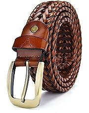 VOGARD Genuine Leather Men's Braided Belt (Tan, Free Size)