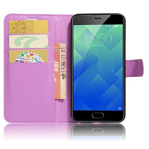 GARITANE Meilan 5/Meizu M5 Hülle Case Brieftasche mit Kartenfächer Handyhülle Schutzhülle Lederhülle Standerfunktion Magnet für Meilan 5/Meizu M5 (Lila)