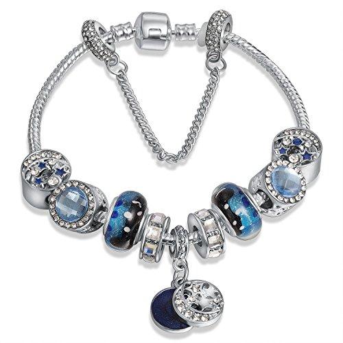A TEBracciale charms da Donna e ragazza blu cristalli e ceramica Regalo festa SKU:JW-B33