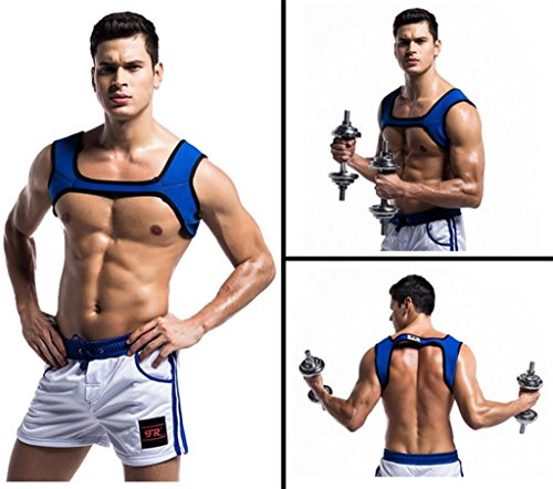 Mustbe strong Mens Fitness Schultern Neopren Harness Sport SchulterstüTzen HosenträGer SchutzausrüStung Fitness, Blue, xl