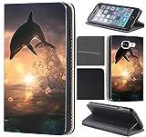 Samsung Galaxy S5 / S5 Neo Hülle von CoverHeld Premium Flipcover Schutzhülle Flip Case Motiv (1006 Delfin Delphin)