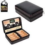 COMMODA Portable en Cuir Véritable Cèdre Cigar Travel Case Cèdre Humidor avec Cutter Briquet Set Boîte en Bois (Noir)