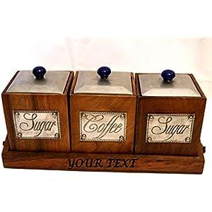 Personalisierte Küchen Organisator Set, Küchen Aufbewahrungs Set, Vintage Set, Kaffee Kanister, Kaffee Glas, Zuckerglas, Zucker Kanister