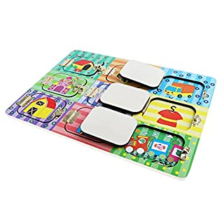 Homyl Wooden Montessori Practical Life Material Lock Latches Board with 6 Lock Puzzle Sensory Basic Skill Learning Montessori Baby Activity Toys