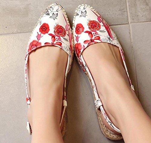 Beauqueen Pompini stile nazionale di nozze splendidi plaited solette piane Slingbacks outsole antiscivolo modello di fiori donne leggere casual scarpe comode UE taglia 34-39 Red