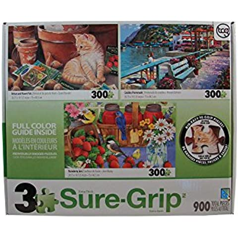 Sure-Grip Jigsaw Puzzles 300 Pieces Each - Nelson & Flower Pots - Catalina Promenade - Strawberry Jam by Sure-Lox