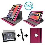3er Starter Set für IONIK Global Tab L1001 4G Tablet Pc Tasche + Stylus Pen + Schutzfolie - 10.1 Zoll Pink 360_ 3in1