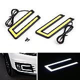 EX1 Auto U-Form Aluminum 6000K Xenon Schlank COB LED DRL Tageslicht Tagfahrlicht Lampe Wasserdicht für Auto SUV Limousine Coupe Fahrzeug (Schwarzer Rahmen, weißes Licht)