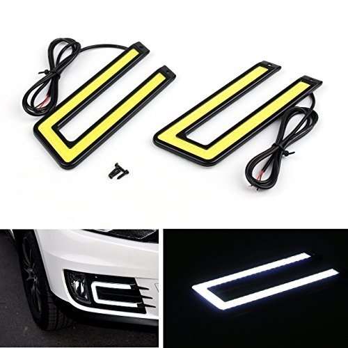 Preisvergleich Produktbild EX1 Auto U-Form Aluminum 6000K Xenon Schlank COB LED DRL Tageslicht Tagfahrlicht Lampe Wasserdicht für Auto SUV Limousine Coupe Fahrzeug (Schwarzer Rahmen,  weißes Licht)