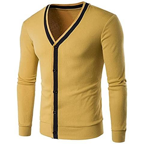 Kaiki Männer Herbst Winter Polar Button Fleece Sweatshirt Strickjacke Tops Jacke Mantel Business Casual Outwear (M, Yellow)