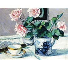 ODSAN Pink Roses In An Oriental Pot - By Francis Campbell Bolleau (F.C.B.) Cadell - impressions sur toile 32x25 pouces - sans cadre