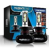 NIGHTEYE 2x Autoscheinwerfer Frontscheinwerfer S1 LED Fit H4 50W 6500K 8000LM(Schwarz Aluminium)
