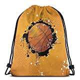 Jiger Drawstring Tote Bag Gym Bags Storage Backpack, Basketball and Paint Splashes On Abstract Grungy Background Sport Theme Print,Very Strong Premium Quality Gym Bag for Adults & Children