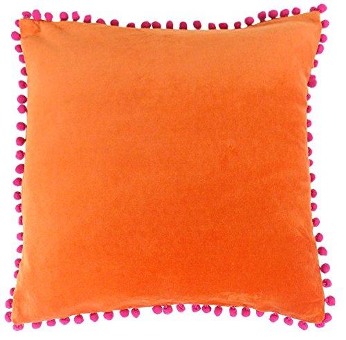 Gefülltes Helles Pom Pom Weich Orange Pink 100% Cotton Samt-Kissen 18