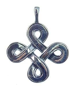 Indéterminée pendentif en forme de nœud sans fin en argent, tibetischer nœuds, symbole de l'infini en argent sterling 925