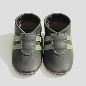 Babyschuhe, Krabbelschuhe, Hausschuhe, Handmade, * Sporti grau-mint. *