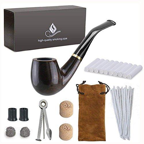 Joyoldelf Set di pipe a tabacco in pero intagliato a mano con 7Accessories di tabacco, 3-in-1Raschietto in acciaio inossidabile, Pulitore per tubo, 9mm filtro a carbone attivo, Confezioni regalo