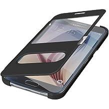 Samsung Galaxy S6 G920 °F funda con tapa Funda para móvil - Funda con tapa con cierre magnético negro + Windows + libre Protector de pantalla (con gamuza de microfibra en producto de marca/anrufannahme cerrada/llamadas en estado cerra