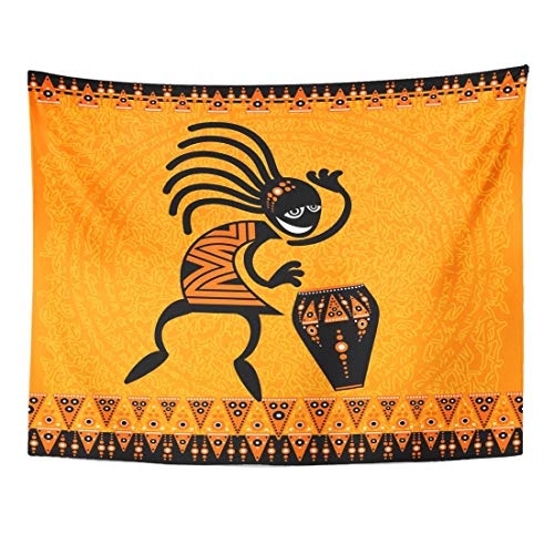 Tapestry Orange Africa Tribal Dancing Figure with Drum African Home Decor Wall Hanging for Living Room Bedroom Dorm 50 x 60 Inches