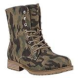 Stiefelparadies Damen Stiefel Leicht Gefütterte Stiefeletten Schnürstiefeletten Schuhe 150347 Camouflage Schnürung 40 Flandell
