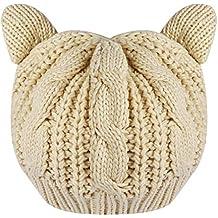 6aaf173fa603 TinkSky Oreilles de chat mignon automne hiver en forme filles de femmes  Crochet tressé Ski tricot