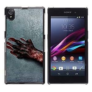 PC/Aluminum Hartschale Schutzhülle Tasche Hülle für Sony Xperia Z1 L39 C6902 C6903 C6906 C6916 C6943 Blood Hand Scary Halloween Grey Horrible / JUSTGO PHONE PROTECTOR