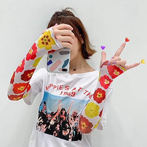 Hermosa niña manga de hielo protector solar mano manga manga delgada equipo al aire libre pequeña belleza guantes de verano artefacto estilo lindo kawaii ccf-42 @ d