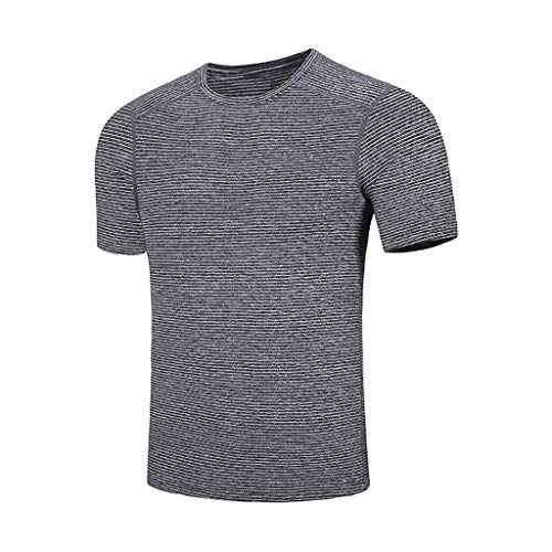 JUTOO Herren T-Shirt Tops Sommer Casual Oansatz T-Shirt Fitness Sport Schnell Trocknend Atmungsaktiv Top Bluse M—5XL (Grau 2,M)
