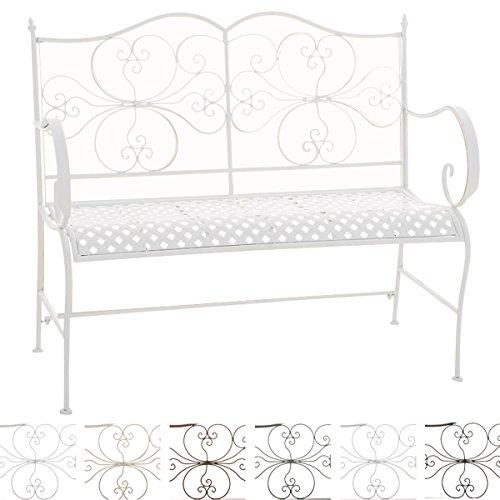 CLP 2er Garten-Bank ANNO V2 mit Armlehne, im Landhausstil, Metall Sitzbank (Eisen lackiert), grazile Form, stilvolle Verzierungen Weiß