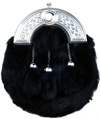 New Full Vestido de conejo negro Furr Sporran Nudos cantle 3borlas accesorio de kilt