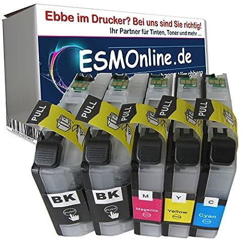 5 komp. XL Druckerpatronen mit Chip für Brother LC223XL LC225