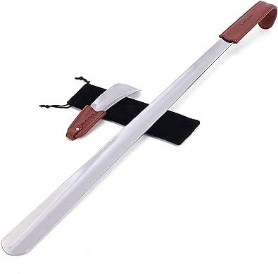 2 pc 70cm&17cm Chausse-pied - Chausse-pied acier inoxydable avec lanière en cuir - Chausse-pied Long Manche - Facile à utiliser, parfait pour le voyage …
